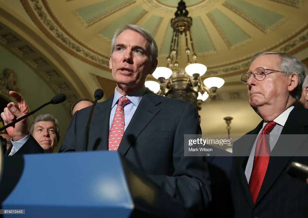 Sen. Rob Portman (R-OH) speaks to reporters about the proposed Senate Republican tax bill, after attending the Senate GOP policy luncheon, at US Capitol on November 14, 2017 in Washington, DC.