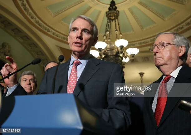 Sen Rob Portman speaks to reporters about the proposed Senate Republican tax bill after attending the Senate GOP policy luncheon at US Capitol on...