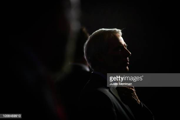 Sen Rob Portman talks with members of the media at the Ohio Republican Party's election night party at the Sheraton Capitol Square on November 6 2018...