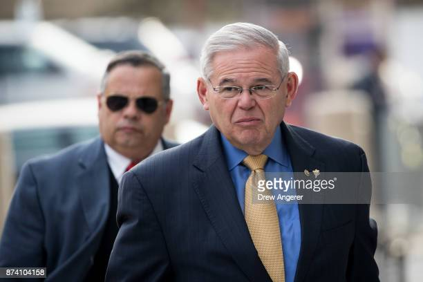 Sen Robert 'Bob' Menendez arrives federal court November 14 2017 in Newark New Jersey The jury continues to deliberate in his corruption trial