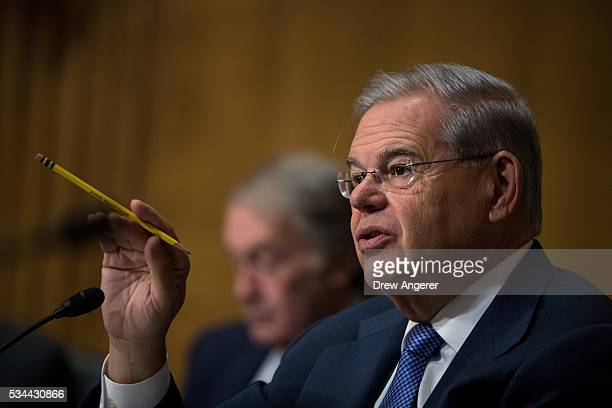 Sen Robert 'Bob' Menendez questions witnesses during a Senate Foreign Relations Committee hearing concerning cartels and the US heroin epidemic on...