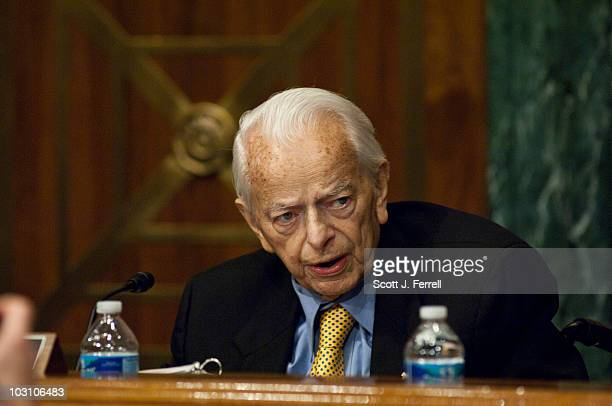 Sen Robert C Byrd makes his opening statement during a Senate Appropriations Subcommittee on Labor Health and Human Services Education and Related...