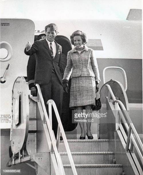 Sen. Robert F. Kennedy and his wife Ethel deboard an airplane at JFK International Airport in Jamaica, New York, on December 1 after completing a...