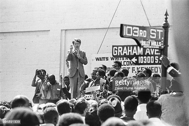 Sen Robert F Kennedy campaigns in the Watts section of Los Angeles circa 1968 Kennedy was later assassinated by Sirhan Sirhan at the Ambassador Hotel...