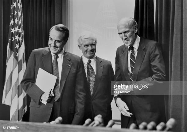 Sen Robert Joseph Bob Dole RKans Senate Minority Leader SenWilliam Thad Cochran RMiss and Sen Alan Kooi Simpson RWyo Senate Minority Whip leaving a...