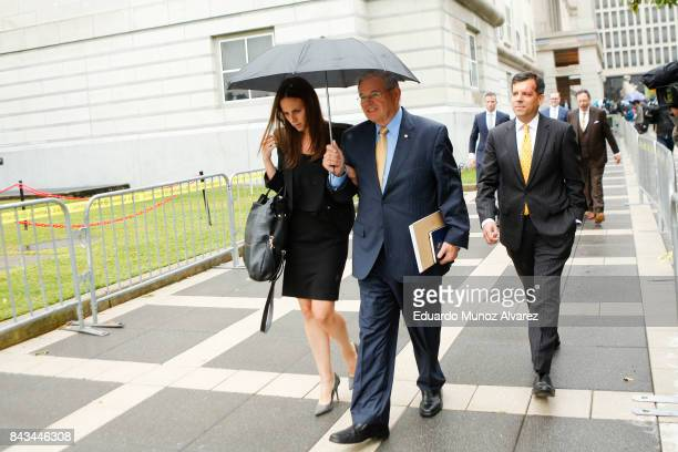 S Sen Robert Menendez accompanied by daughter Alicia Menendez and Robert Jr exits federal court on the first day of his trial on corruption charges...