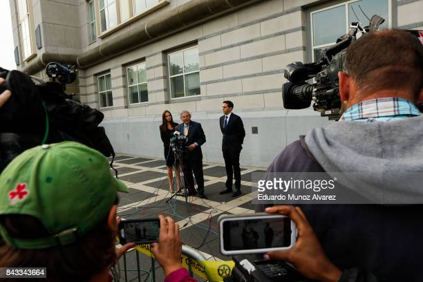 S Sen Robert Menendez accompanied by son Robert Jr and daughter Alicia Menendez speaks to the media at federal court for the beginning of his trial...