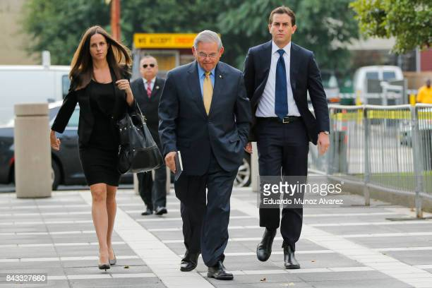 S Sen Robert Menendez arrives at federal court for his trial on corruption charges accompanied by son Robert Jr and daughter Alicia Menendez on...