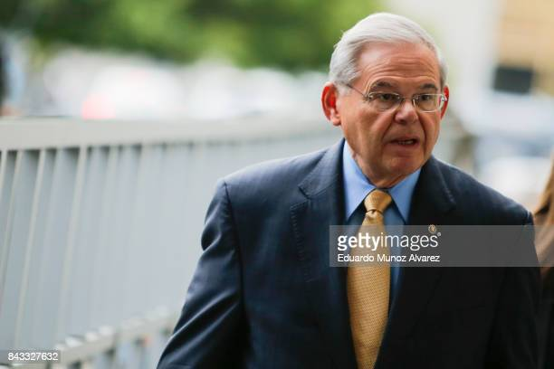 S Sen Robert Menendez arrives at federal court for his trial on corruption charges on September 6 2017 in Newark New Jersey Menendez is accused of...