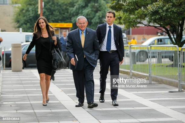 S Sen Robert Menendez arrives at federal court for the beginning of his trial on corruption charges accompanied by son Robert Jr and daughter Alicia...