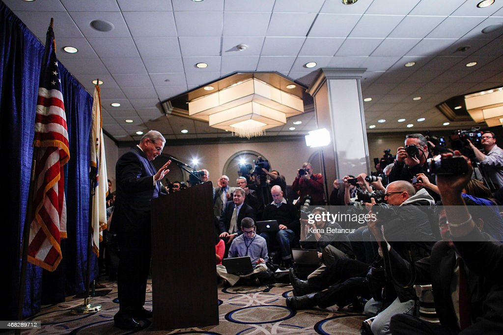 Sen. Robert Menendez (D-NJ) arrives to speak at a press conference on April 1, 2015 in Newark, New Jersey. According to reports, Menendez has been indicted on federal corruption charges of conspiracy to commit bribery and wire fraud.