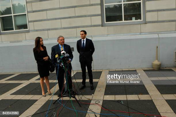 S Sen Robert Menendez D accompanied by son Robert Jr and daughter Alicia Menendez speaks to the media at federal court for the beginning of his trial...