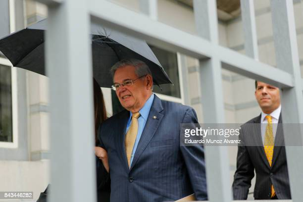 S Sen Robert Menendez exits federal court on the first day of his trial on corruption charges on September 6 2017 in Newark New Jersey Menendez is...