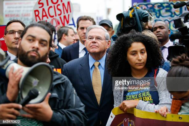 S Sen Robert Menendez joins immigration activists protesting the Trump administration's decision to end the Deferred Action for Childhood Arrivals...