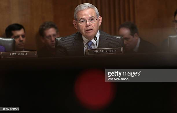 Sen Robert Menendez makes opening remarks during a markup meeting of the Senate Foreign Relations Committee on the proposed nuclear deal with Iran...