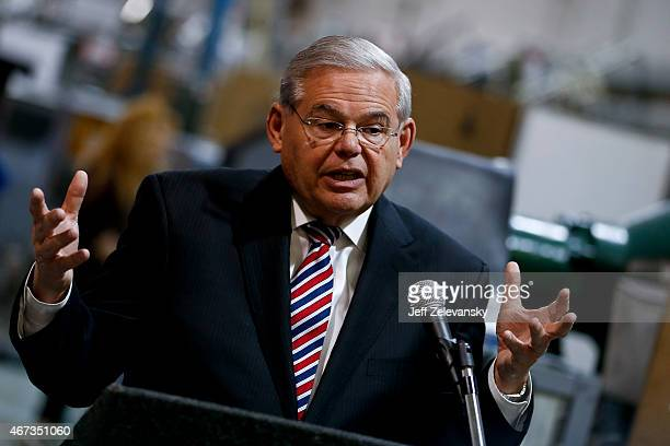 S Sen Robert Menendez speaks as he visits the Pen Company of America to discuss the America Star program on March 23 2015 in Garwood New Jersey The...