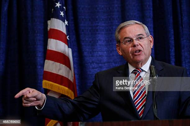 Sen Robert Menendez speaks at a press conference on April 1 2015 in Newark New Jersey According to reports Menendez has been indicted on federal...