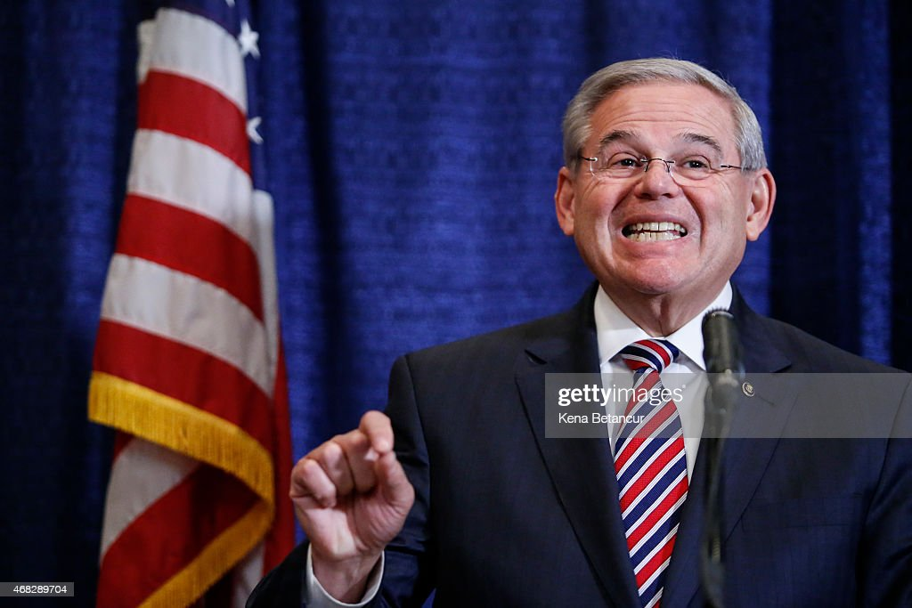 NJ Sen. Bob Menendez Holds Press Conf. After Indictment On Corruption Charges : News Photo