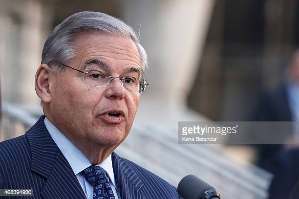 S Sen Robert Menendez speaks outside the federal court after he was indicted on corruption charges on April 2 2015 in Newark New Jersey Sen Menendez...