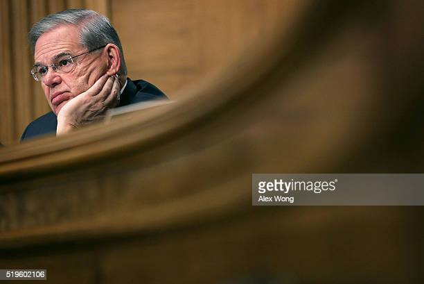 S Sen Robert Menendez waits for the beginning of a hearing before the Senate Banking Housing and Urban Affairs Committee April 7 2016 on Capitol Hill...