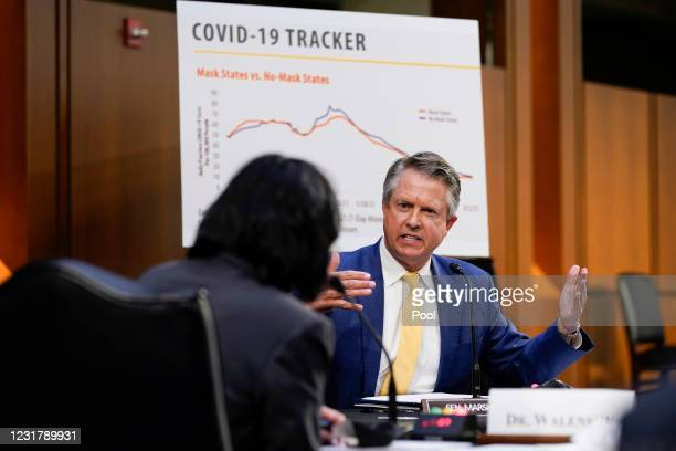 Sen. Roger Marshall speaks during a Senate Health, Education, Labor and Pensions Committee hearing on the federal coronavirus response on Capitol...
