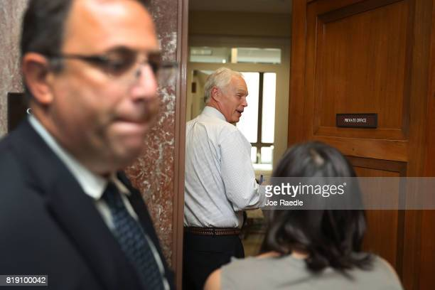 Sen Ron Johnson arrives to attend a healthcare bill meeting with fellow Republican senators at the Dirksen Senate Office Building on July 19 2017 in...