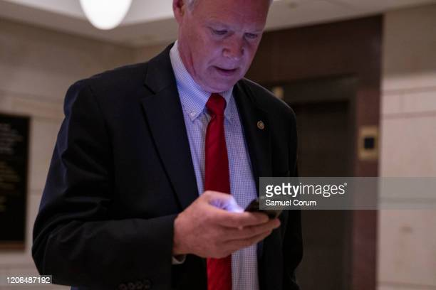 Sen Ron Johnson Chairman of the Homeland Security and Governmental Affairs Committee leaves a briefing for Senators by officials from the Department...