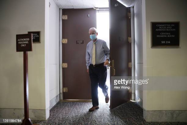 S Sen Ron Johnson leaves after the weekly Senate Republican policy luncheon at Hart Senate Office Building June 23 2020 on Capitol Hill in Washington...