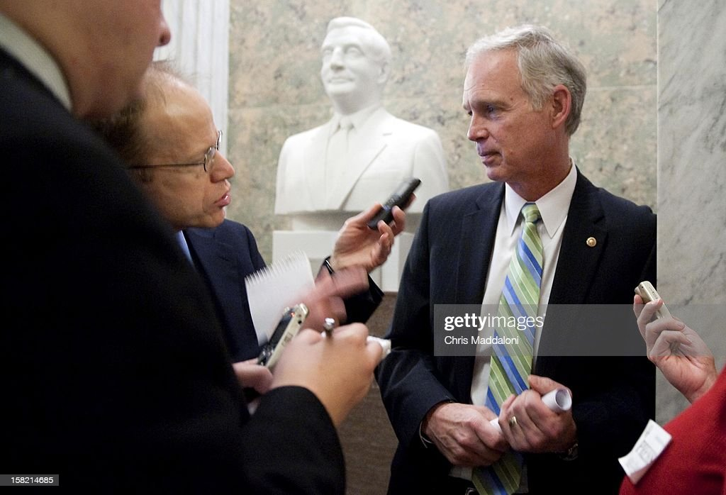 Sen. Ron Johnson, R-Wis., speaks to the press about the fiscal cliff after the weekly Senate luncheons. Congress and the President have until the end of the year to solve the ongoing budget crisis.
