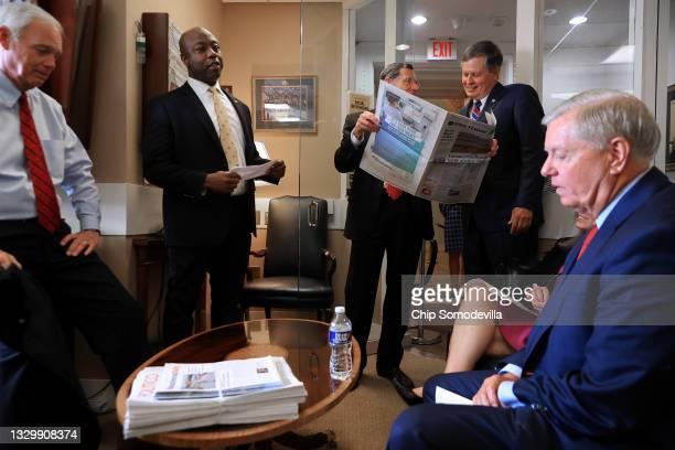 Sen. Ron Johnson , Sen. Tim Scott , Sen. John Barrasso , Sen. Steve Daines and Sen. Lindsey Graham prepare for a news conference at the U.S. Captiol...