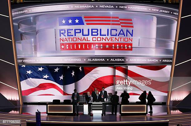 Sen Ron Johnson stands on stage prior to the start of the second day of the Republican National Convention on July 19 2016 at the Quicken Loans Arena...