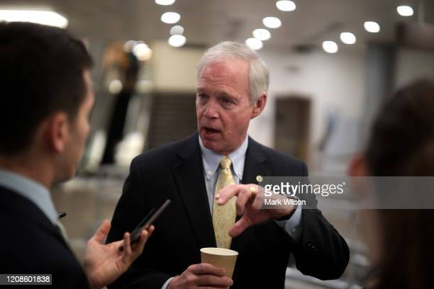 Sen Ron Johnson talks to reporters after attending briefing from administration officials on the coronavirus on Capitol Hill February 25 2020 in...