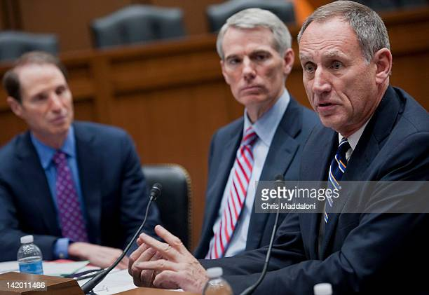 Sen Ron Wyden DOr Sen Rob Portman ROh and Toby Cosgrove president and CEO of Cleveland Clinic speak at a discussion on Can Medicare Save Money by...