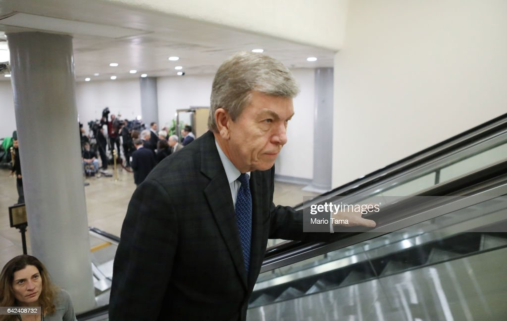 U.S. Sen. Roy Blunt (R-MI) ascends an escalator on Capitol Hill on February 17, 2017 in Washington, DC. FBI Director James Comey met with Senate members for a closed door meeting at the Capitol today.