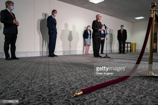 Sen. Roy Blunt , Sen. John Thune , Sen. Joni Ernst Senate Majority Leader Mitch McConnell , , Sen. Joni Ernst and Sen. John Barrasso attend a press...