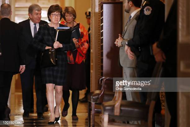 Sen. Roy Blunt , Sen. Susan Collins and Sen. Lisa Murkowski head into the Senate Chamber before the start of the third day of President Donald...