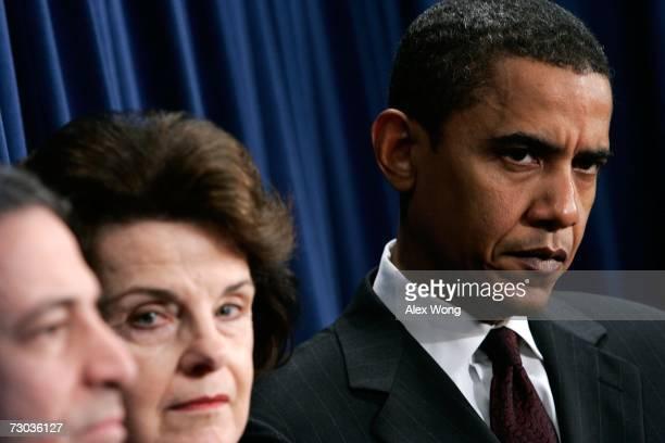 Sen. Russell Feingold , Sen. Dianne Feinstein , and Sen. Barack Obama listen during a news conference on the ethics bill January 18, 2007 on Capitol...