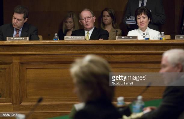 Sen Sam Brownback RKan Sen Lamar Alexander RTenn and Sen Susan Collins RMaine look on as Secretary of State Hillary Rodham Clinton and Defense...