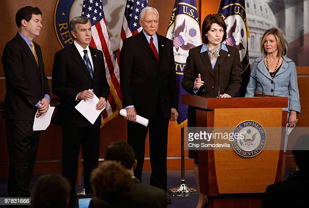Sen Sam Brownback Sen Mike Johanns Sen Orrin Hatch Rep Cathy McMorris Rodgers and Rep Marsha Blackburn hold a news conference at the US Capitol March...