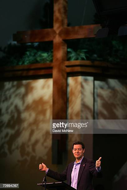 Sen Sam Brownback speaks at the second annual Global Summit on AIDS and The Church at Saddleback Church December 1 2006 in Lake Forest California...