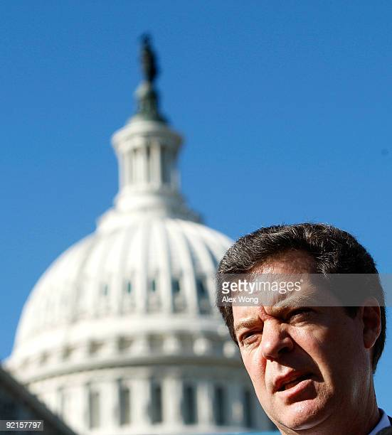 S Sen Sam Brownback speaks during a news conference about abortion on Capitol Hill October 21 2009 in Washington DC Focus on the Family Action...