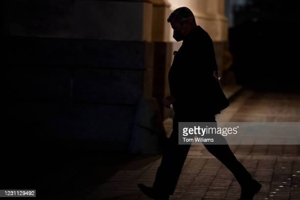 Sen. Sheldon Whitehouse, D-R.I., leaves the Capitol after the fourth day of former President Donald Trumps impeachment trial on Friday, February 12,...