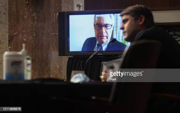 S Sen Sheldon Whitehouse questions Judge Justin Walker remotely by video link to help with social distancing due to COVID19 during Walker's Senate...