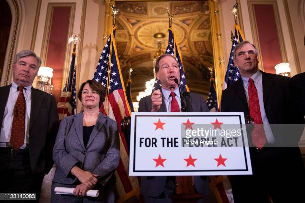 Sen. Sheldon Whitehouse , Sen. Amy Klobuchar , Sen. Jeff Merkley and Sen. Tom Udall hold a press conference to unveil the For The People Act at the...