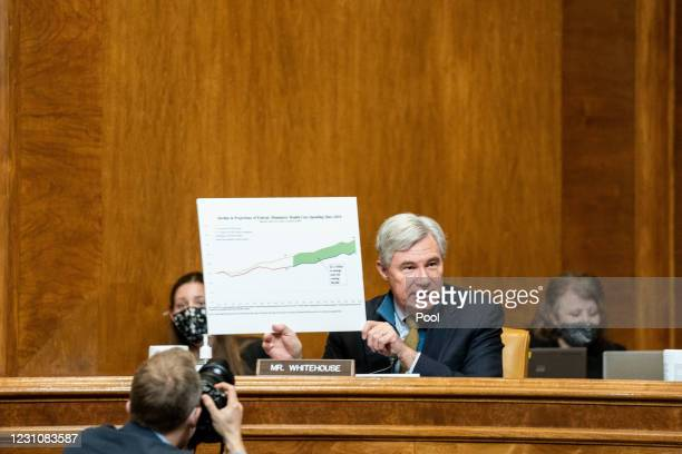 Sen. Sheldon Whitehouse speaks at the confirmation hearing for Neera Tanden, nominee for Director of the Office of Management and Budget , before the...