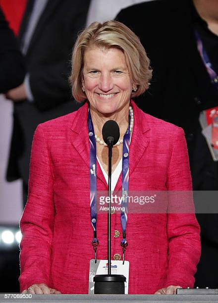 Sen Shelley Moore Capito checks the sound and the view from the podium on the first day of the Republican National Convention on July 18 2016 at the...