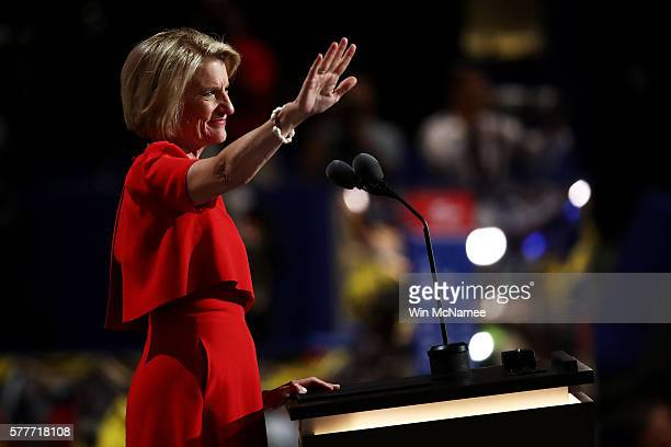 Sen Shelley Moore Capito delivers a speech on the second day of the Republican National Convention on July 19 2016 at the Quicken Loans Arena in...