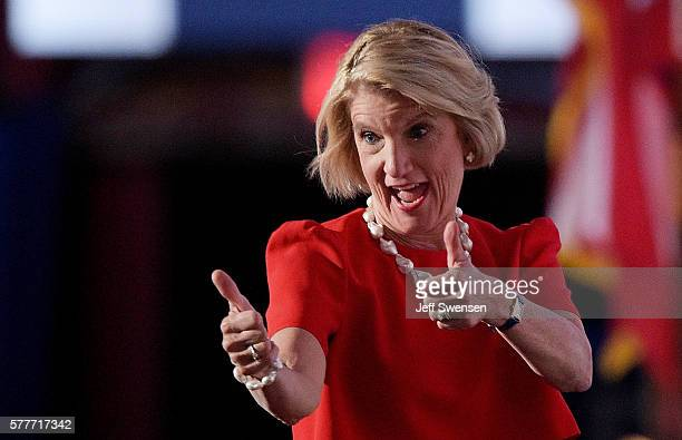 Sen Shelley Moore Capito gives two thumbs up after delivering a speech on the second day of the Republican National Convention on July 19 2016 at the...