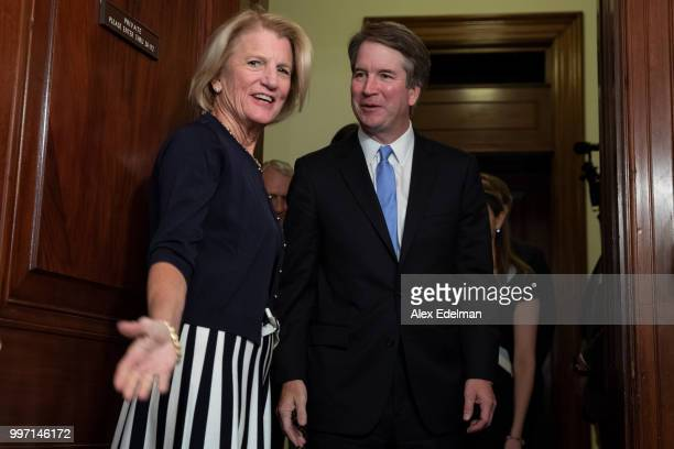 Sen Shelley Moore Capito greets Judge Brett Kavanaugh prior to a meeting in the Russell Senate Office Building on July 12 2018 in Washington DC...