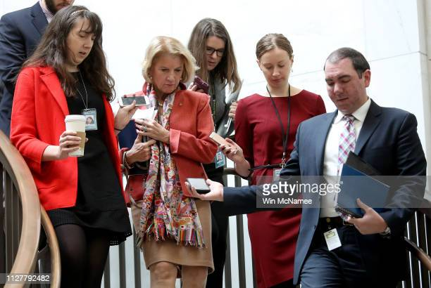 Sen Shelley Moore Capito is trailed by reporters as she arrives for a closed briefing from US Border Patrol career professionals at the US Capitol on...